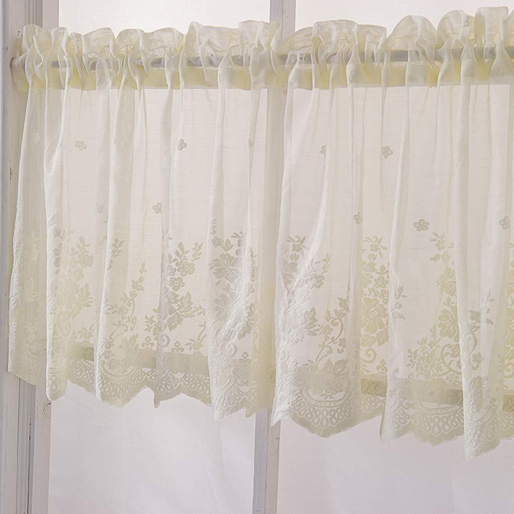 Ruiboury Lace Ruffle Cafe Kitchen Window Drape Valance semi Finestra drappo mantovana tende trasparente Voile tende Trattamento Finestra