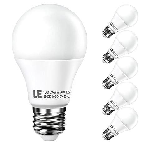 LE Bombillas LED 10 vatios, Equivalente a una Bombilla Incandescentes de 60 vatios, Blanco