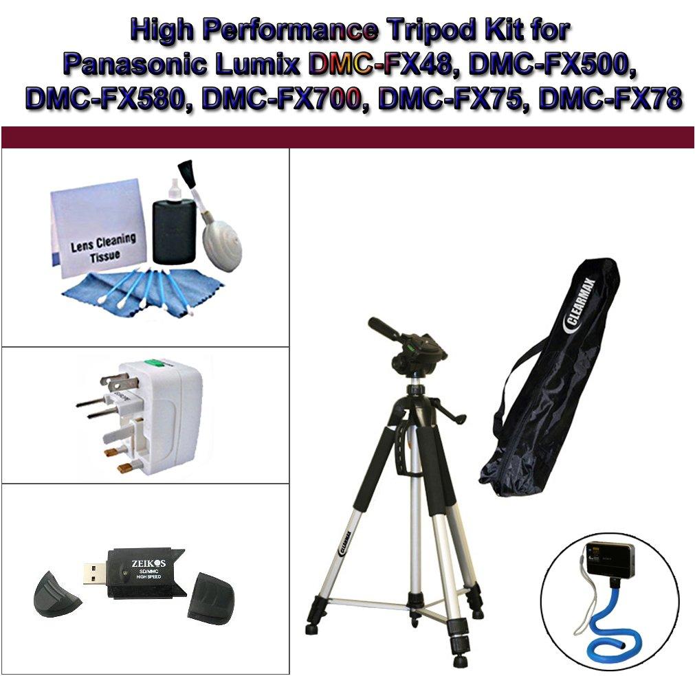 High Performance Tripod Kit for Panasonic Lumix DMC-FX48, DMC-FX500, DMC-FX580, DMC-FX700, DMC-FX75, DMC-FX78; Flexible Monopod, Universal Adapter, USB 2.0, and 5PC Lens Cleaning Kit