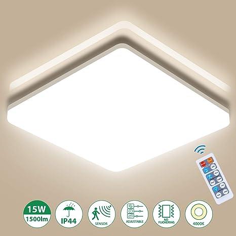 Oeegoo 15W Plafón LED Regulable, 1500Lm LED Lámpara de Techo con Sensor de Movimiento, Ip44 Impermeable LED Luz de Techo para Dormitorio Salón Comedor ...