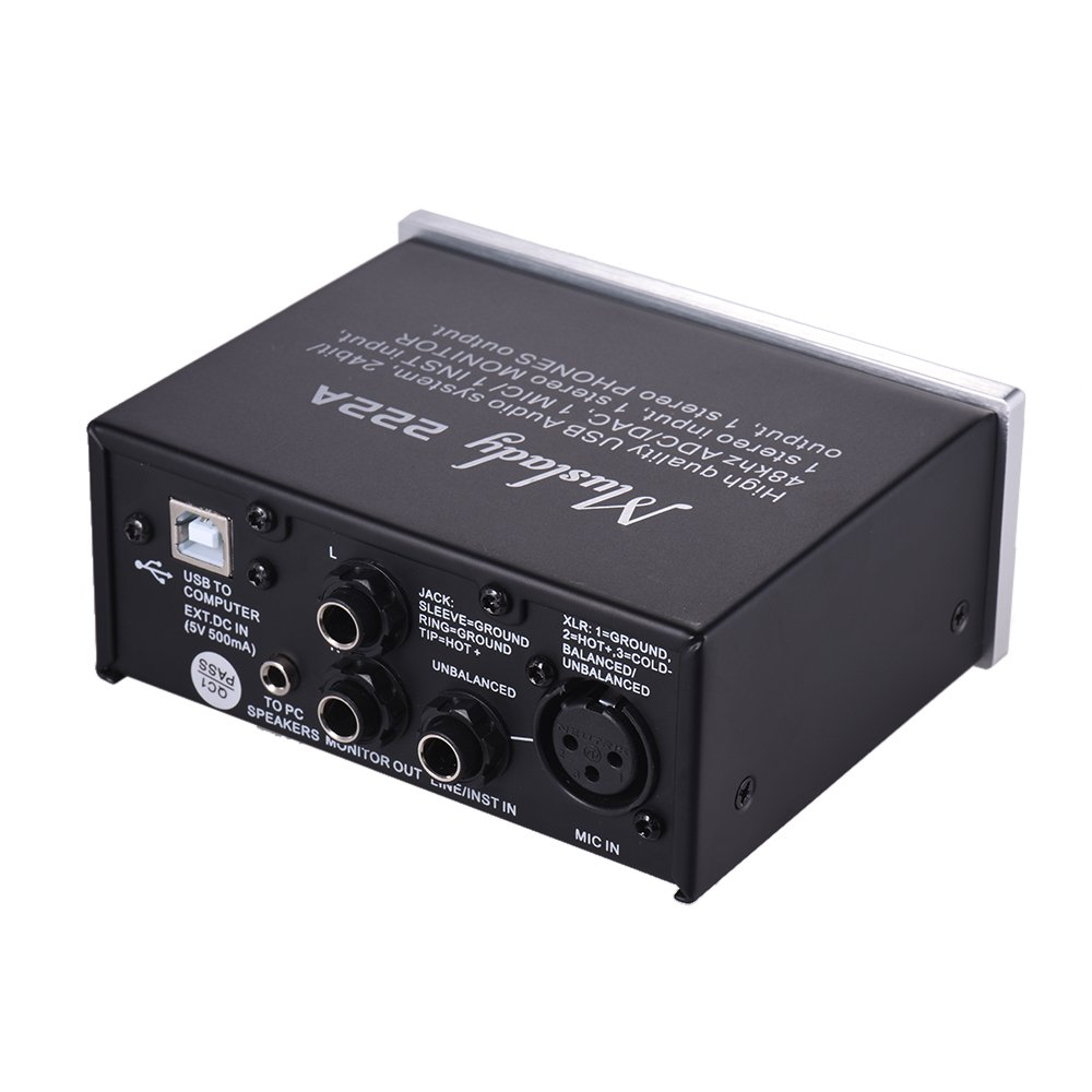 Muslady 2 canales Sistema de audio USB Interfaz Tarjeta de ...