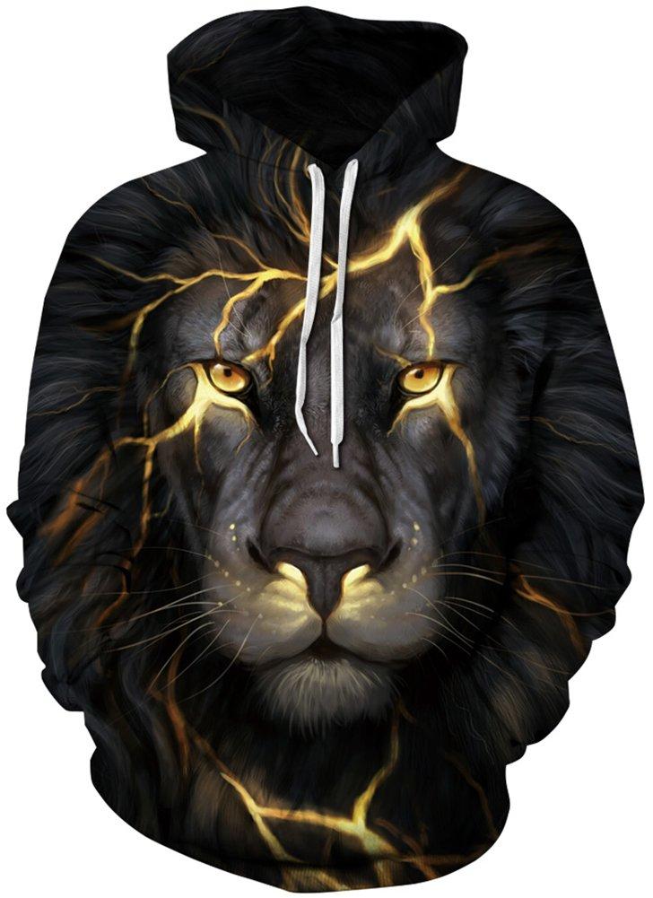 Unisex Realistic 3d Print Galaxy Pullover Hoodie Hooded Sweatshirt (Small/Medium, Lion Light)