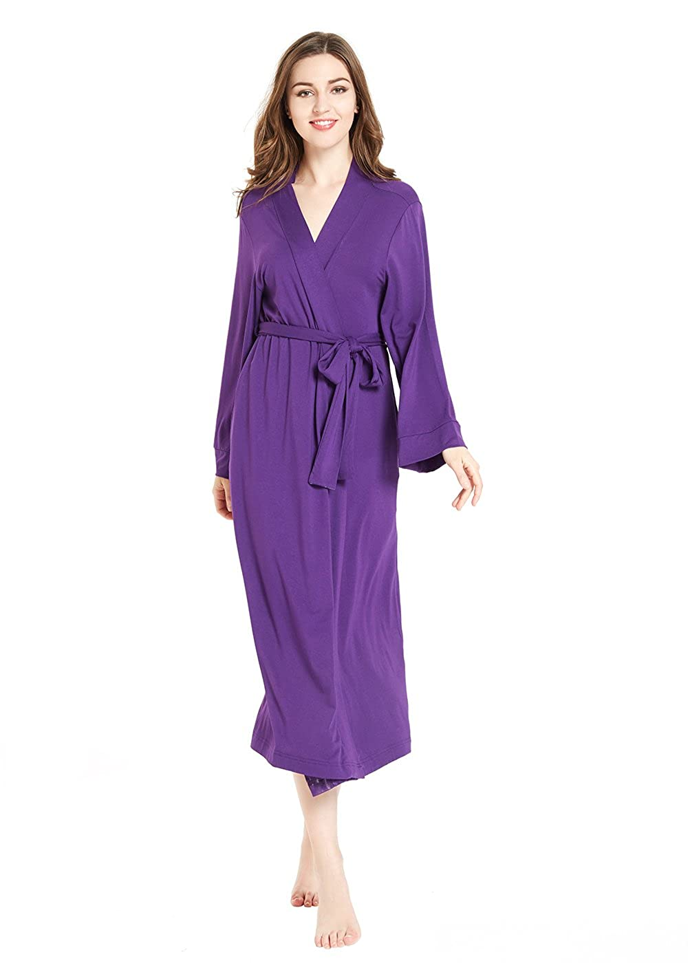 Purple lantisan Silky Satin Robe Women, Long Bathrobe Full Length VNeck Dressing Gown