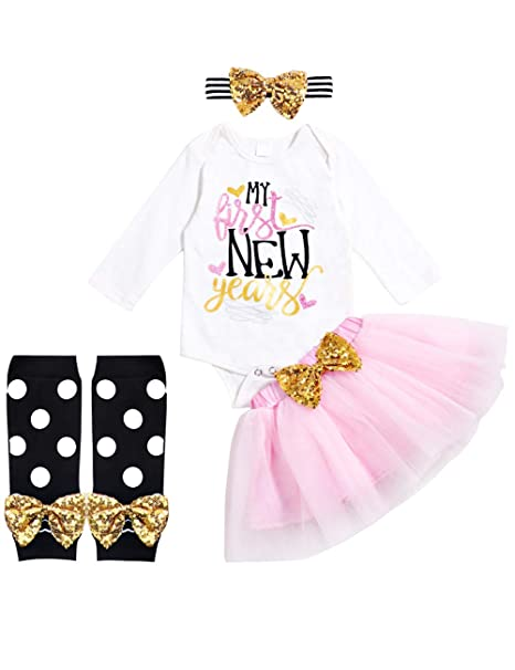 72304efe92f Image Unavailable. Image not available for. Color  Newborn Baby Girl My  First New Year Skirt Sets Long Sleeve Romper Tutu Skirt with Headband