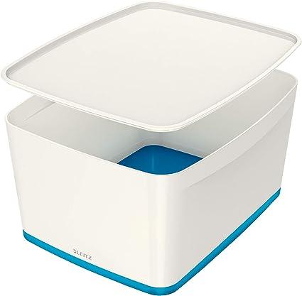 Leitz MyBox Grande con tapa, Caja de almacenaje para casa o la oficina, 18 litros, A4, Blanco/Azul metalizado, Plástico brillante, 52161036: Amazon.es: Oficina y papelería