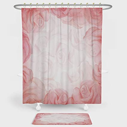 Light Pink Shower Curtain And Floor Mat Combination Set Romantic Frame With Blooming Roses Watercolor Fantasy