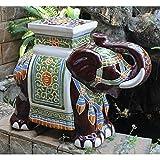 Large Porcelain Elephant Stool (Brown)