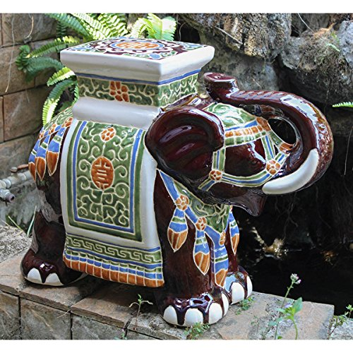 Large Porcelain Elephant Stool (Brown) by International Caravan