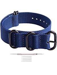 Ritche 18mm 20mm 22mm Nato Strap With Black Heavy Duty Brushed Buckle Watch Band