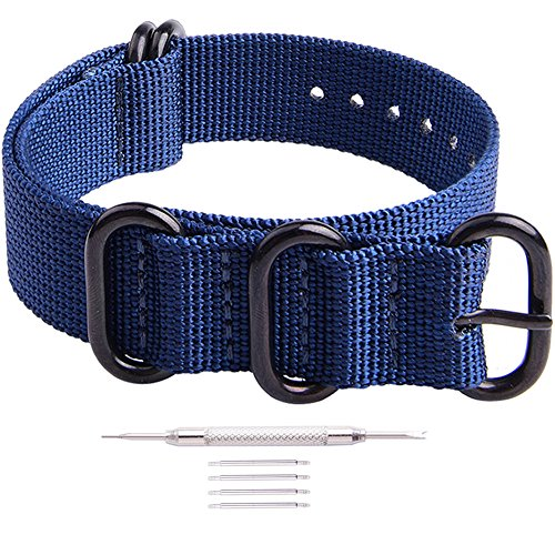 Ritche 18mm Blue NATO Strap with Black Heavy Buckle Compatible with Timex Weekender Watch Band