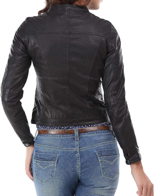 Womens Leather Jacket Stylish Motorcycle Biker Genuine Lambskin 154