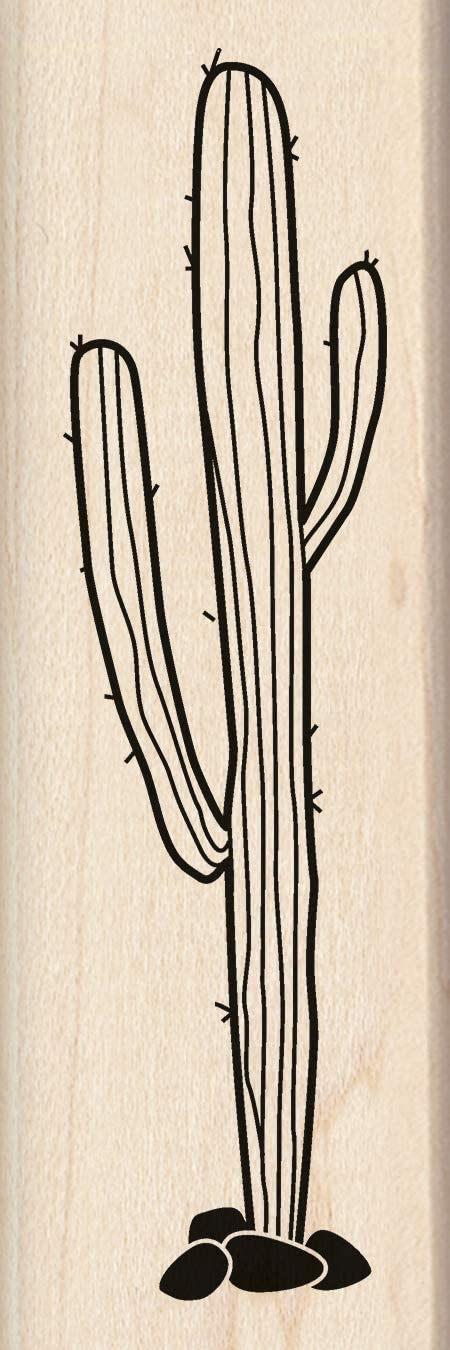Inkadinkado Cactus Wooden Mounted Rubber Stamp for Card Making and Scrapbooking, 1pc, 1.53''L x 4.54''W