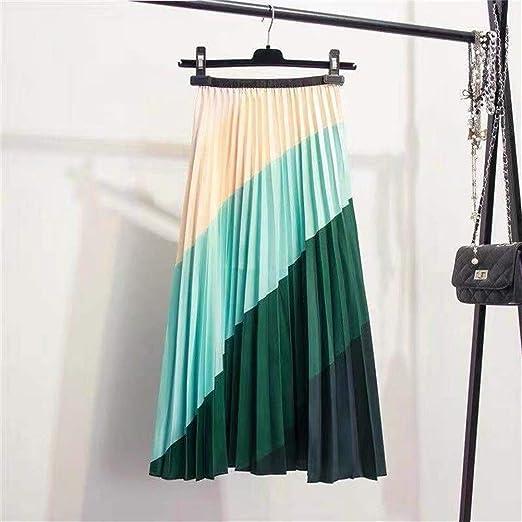 Huisongda Faldas for Mujer Falda A-Line de Seda de Seda con Efecto ...