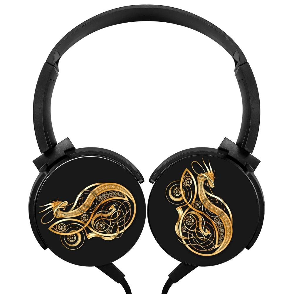 MagicQ Gold Norse Dragon Stereo Deep Bass Wired Headphones Earphones