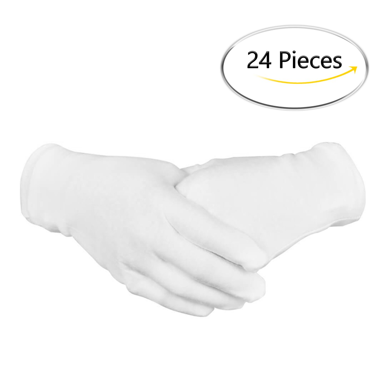 BONTIME 12 Pairs 8.6'' Large White Cotton Safety Work Lining Gloves for Cosmetic Moisturizing Coin Jewelry Silver Inspection Hand Spa Unisex