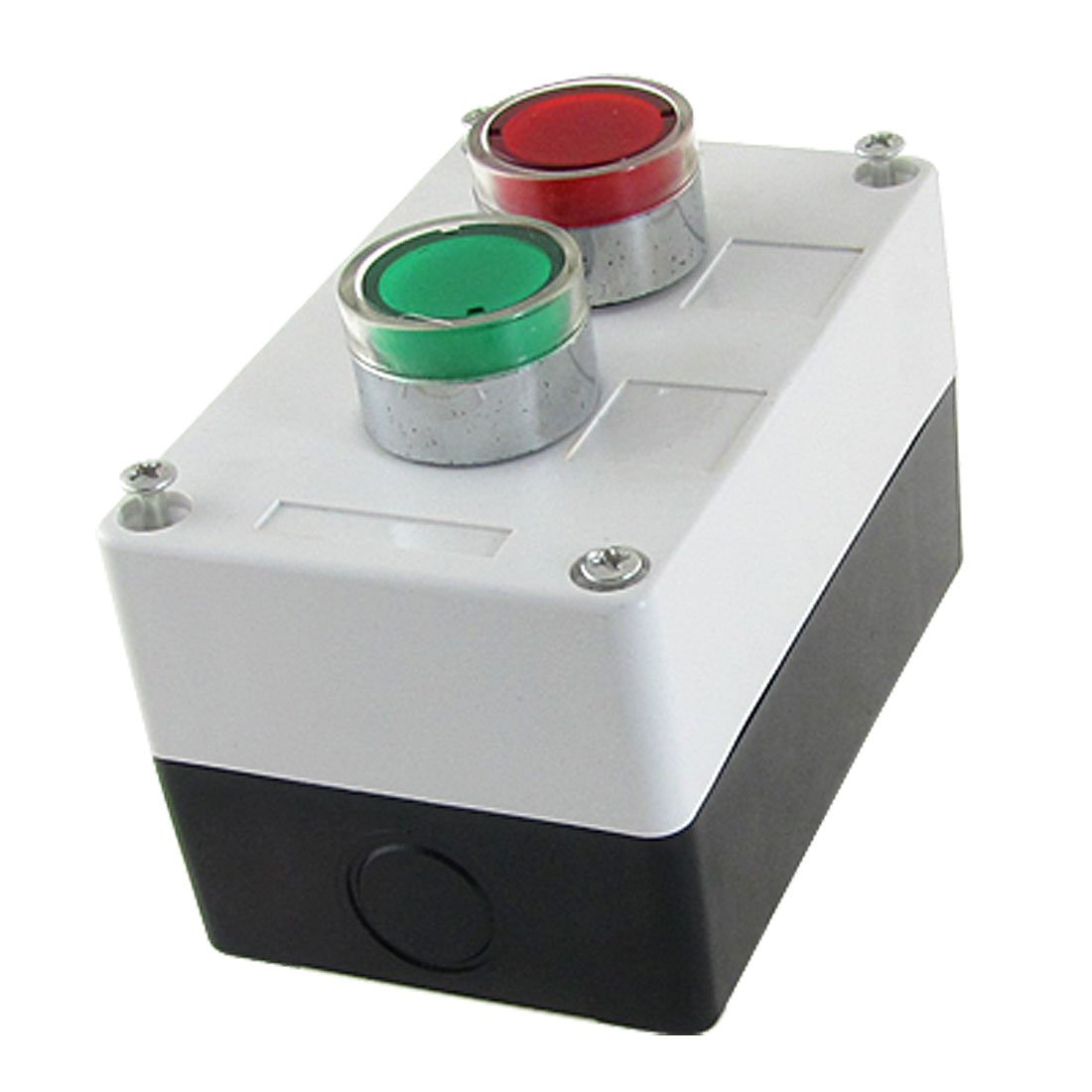 uxcell AC 110V Green Red Illuminated Light N/O NO Momentary Push Button Switch Station