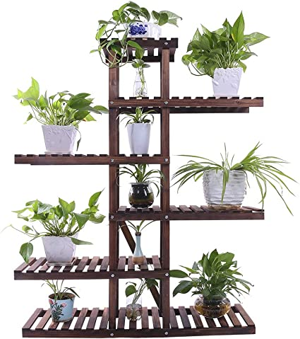 Amazon Com Ufine Carbonized Wood Plant Stand 6 Tier Vertical Shelf Flower Display Rack Holder Planter Organizer For Indoor Outdoor Garden Patio Balcony Living Room And Office Garden Outdoor