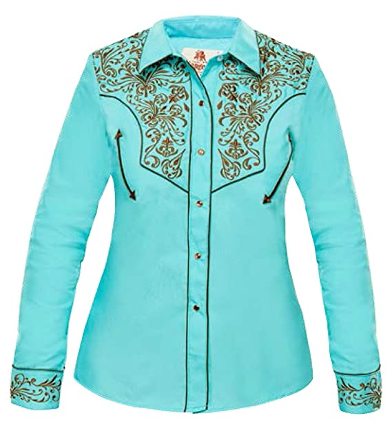 Fitted Western Floral Modestone Vaquera Women's Camisa Embroidered PwZxp4qg