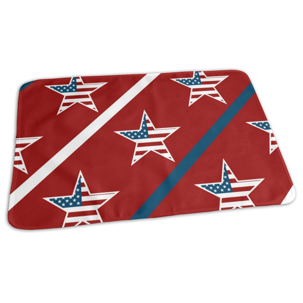 Osvbs Lovely Baby Reusable Waterproof Portable American Flag Pentagon Changing Pad Home Travel 27.5''x19.7'' by Osvbs