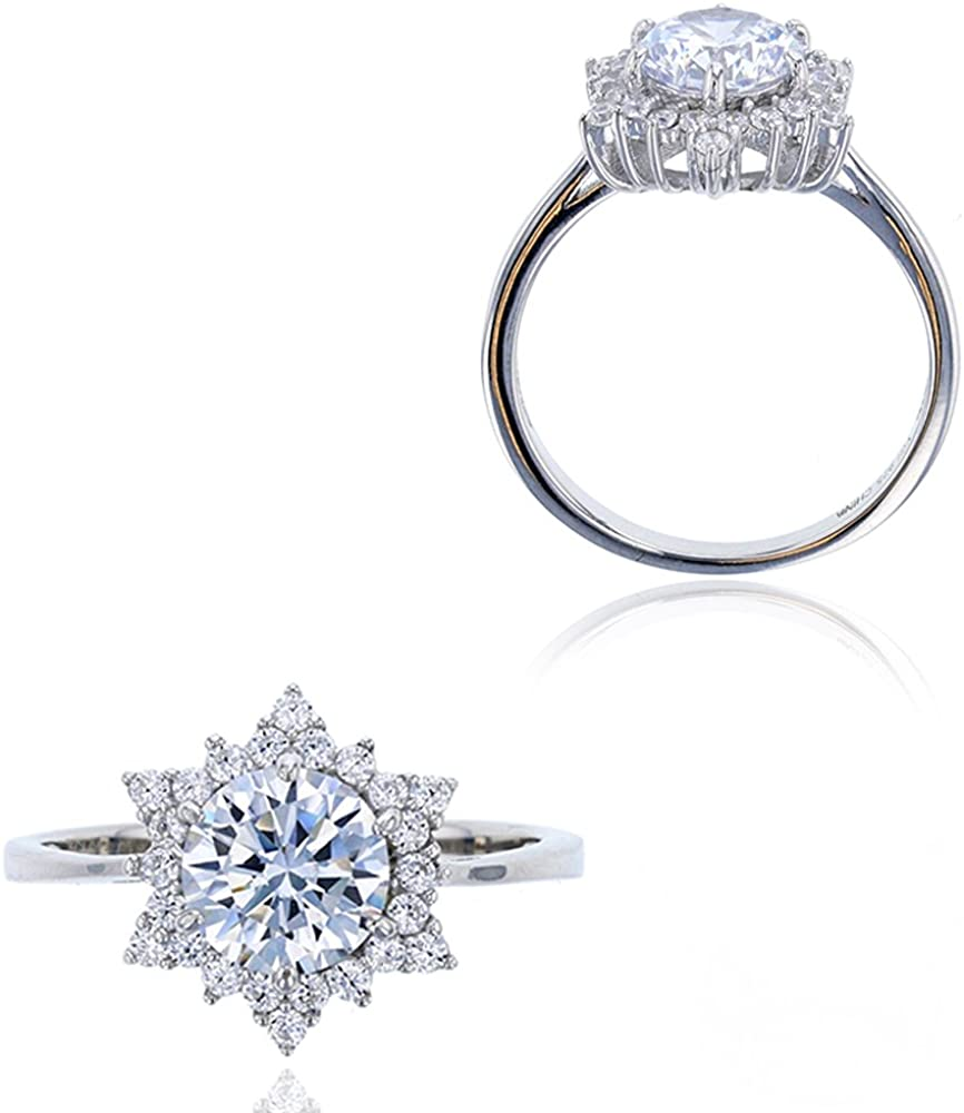 Sterling Silver Rhodium 7.50mm Round CZ Halo Solitaire Engagement Ring