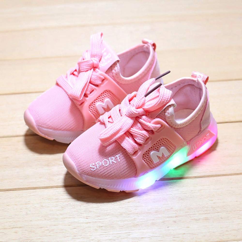 EINCcm Toddler Child Boys Girls Breathable Light Up Lace Up Shoes Star Luminous Outdoor Sport Casual Colorful Flashing Sneaker