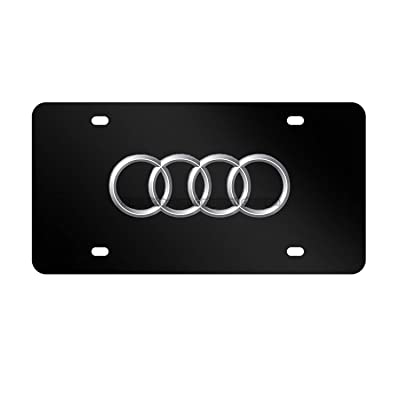 3D Audi Logo Black Carbon Fiber Stainless Steel Front License Plate, with Screw Caps Cover Set Suit, for Audi.(DIY Logo): Automotive