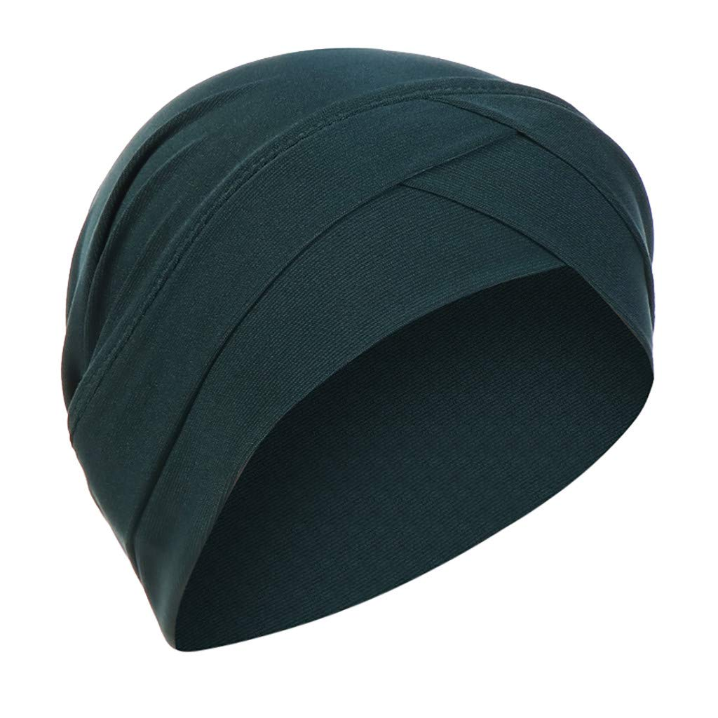 Haluoo Fashion Ruffle Turban Hat Slip On Slinky Cap for Women Chemo Cancer Hair Loss Sleep Beanie Turbans Headband Stretchy Muslim Wrap Scraf Hat