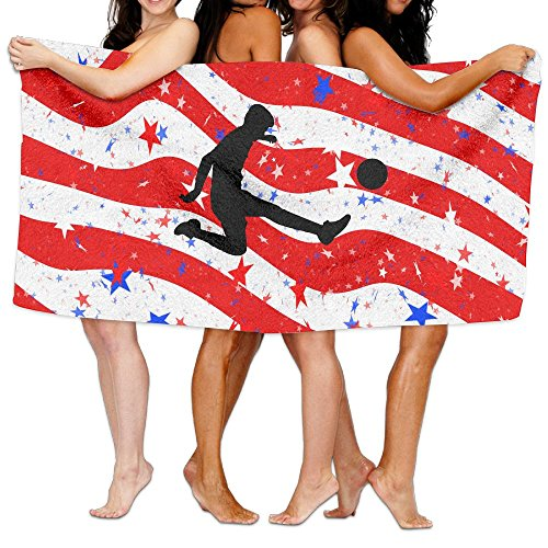 America Usa Flag With Soccer Player Fashion 3D Printed Bath Towels Beach Towels Adults Soft And Comfortable Shower Towel Swim Towel by Opira Fgas