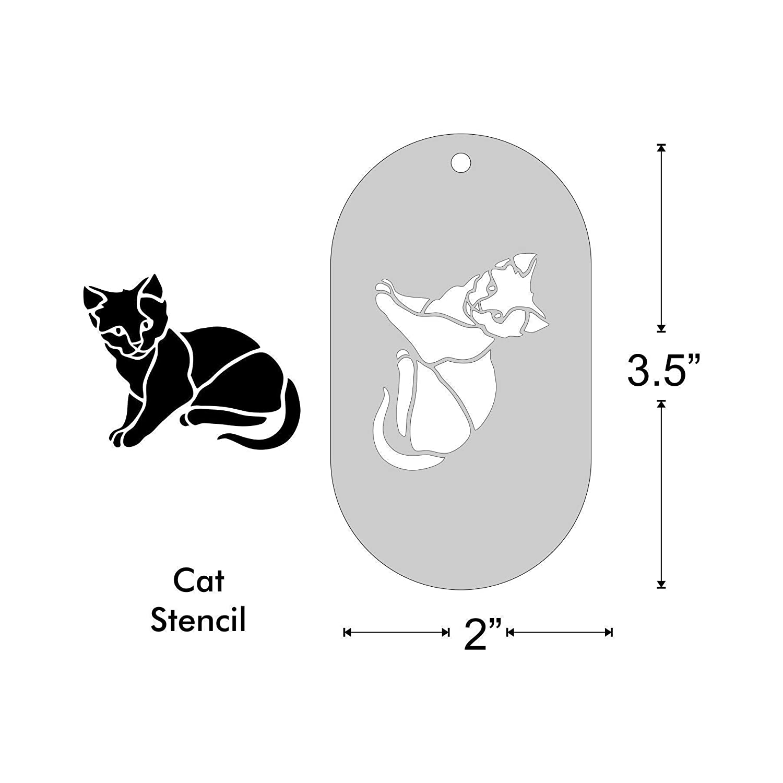 Stencil Cat Size 1 1.8x1.5 Inch Image on 3.5x2 Border