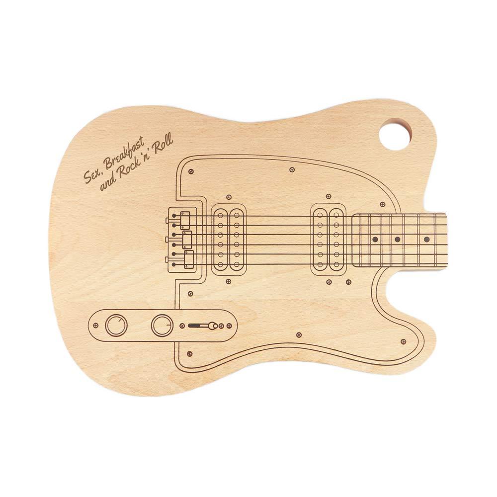 Tabla de cortar Guitarra Eléctrica – Sex, Breakfast and RocknRoll – Standard – Tabla de cocina – Regalos de boda originales – Regalos ...