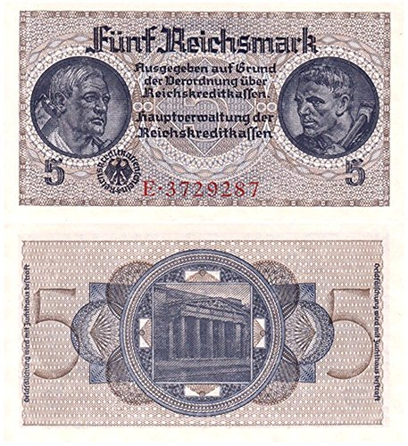 1939 DE SUPERB ORIGINAL NAZI 5 REICHSMARK w FARMER, MINER & SWASTIKA! RARE CHOICE UNCIRCULATED COND.! 5 Reichsmark Choice Crisp Uncirculated