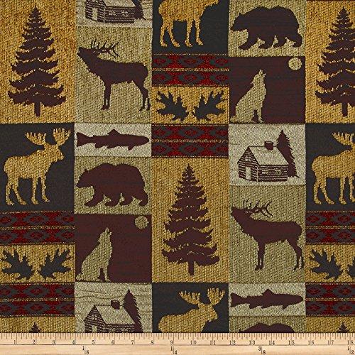 Regal Fabrics Fairbanks Cabin Patch Chenille Jacquard Fabric Evergreen