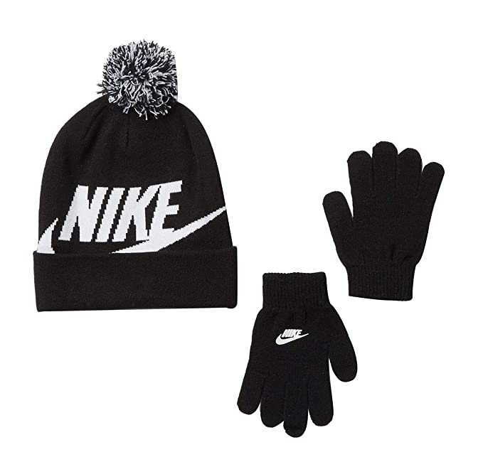 e989b36809e Nike Youth 8-20 Jordan Beanie Hat Gloves Set Boys Black- Vivid Red   Amazon.co.uk  Clothing