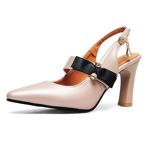 11b4d6e714434 OALEEN Rétro Escarpins Pointus Femme Bride Arrière Strass Talon Haut  Chaussures Sandales Soirée Beige Rose 32