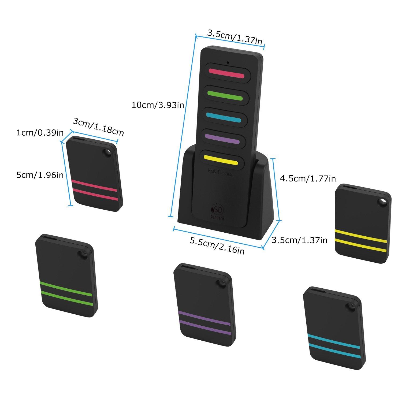 Key Finder, Sunvito 6 in 1 Wireless Tracker Localizzatore di telecomando Dispositivo Anti-perso Portachiavi Supporto portachiavi per telefono, portafoglio, allarme bagagli, 1 trasmettitore RF e 5 ricevitori