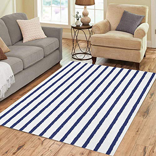 (Pinbeam Area Rug Brush Drawn Sailor Stripes Pattern Rough Edges Navy Home Decor Floor Rug 3' x 5' Carpet)
