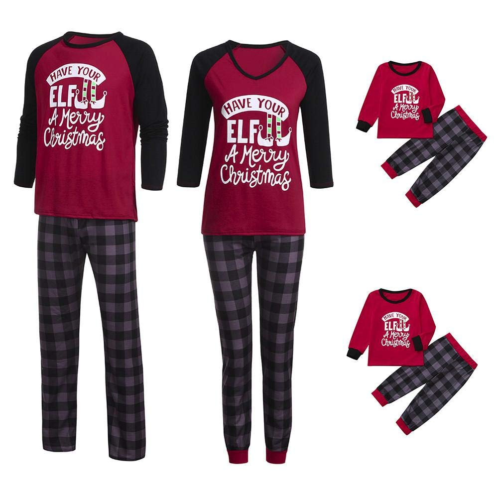 2Pcs Christmas Set❤Zerototens Family Matching Pjs for Christmas Pajamas Kids Elf Letter Print T Shirt Tops Plaid Pants Sleepwear Outfits, Red Family Nightwear Xmas Gift