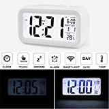 Audew Light Sensor Digital Alarm Clock Smart Travel Morning Clock with Time/Date/Temperature Display and Controlable Backlight white white