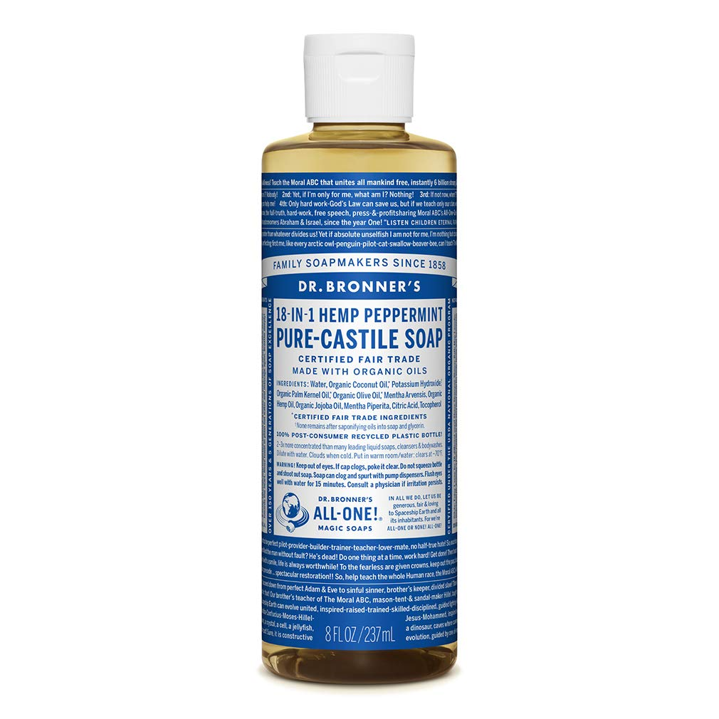 Dr. Bronner's - Pure-Castile Liquid Soap (Peppermint, 8 ounce) - Made with Organic Oils, 18-in-1 Uses: Face, Body, Hair, Laundry, Pets and Dishes, Concentrated, Vegan, Non-GMO
