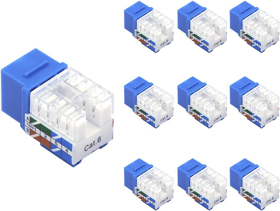 VCE 25-Pack UL Listed Cat6A RJ45 90-Degree Keystone Jack Insert Ethernet UTP Cat6A Keystone Jacks