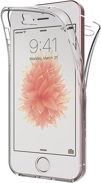 AICEK Cover iPhone SE/iPhone 5S, 360° Full Body Cover iPhone SE Silicone Case Molle di TPU Trasparente Sottile Custodia per iPhone SE (4,0 Pollici)