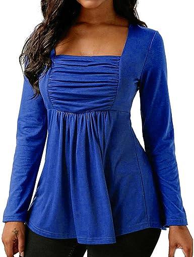 Camisa Mujer Blanca Verano Azul, Covermason Mujeres de Moda Casual Manga Larga Acanalada Cuello Cuadrado Tops Blusa: Amazon.es: Ropa y accesorios