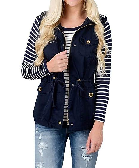 JackenLOVE Primavera Otoño Mujeres Chalecos Casual Tops Jacket Outerwear Coat Moda Sin Mangas Ropa de Abrigo Chaquetas Cazadora: Amazon.es: Ropa y ...