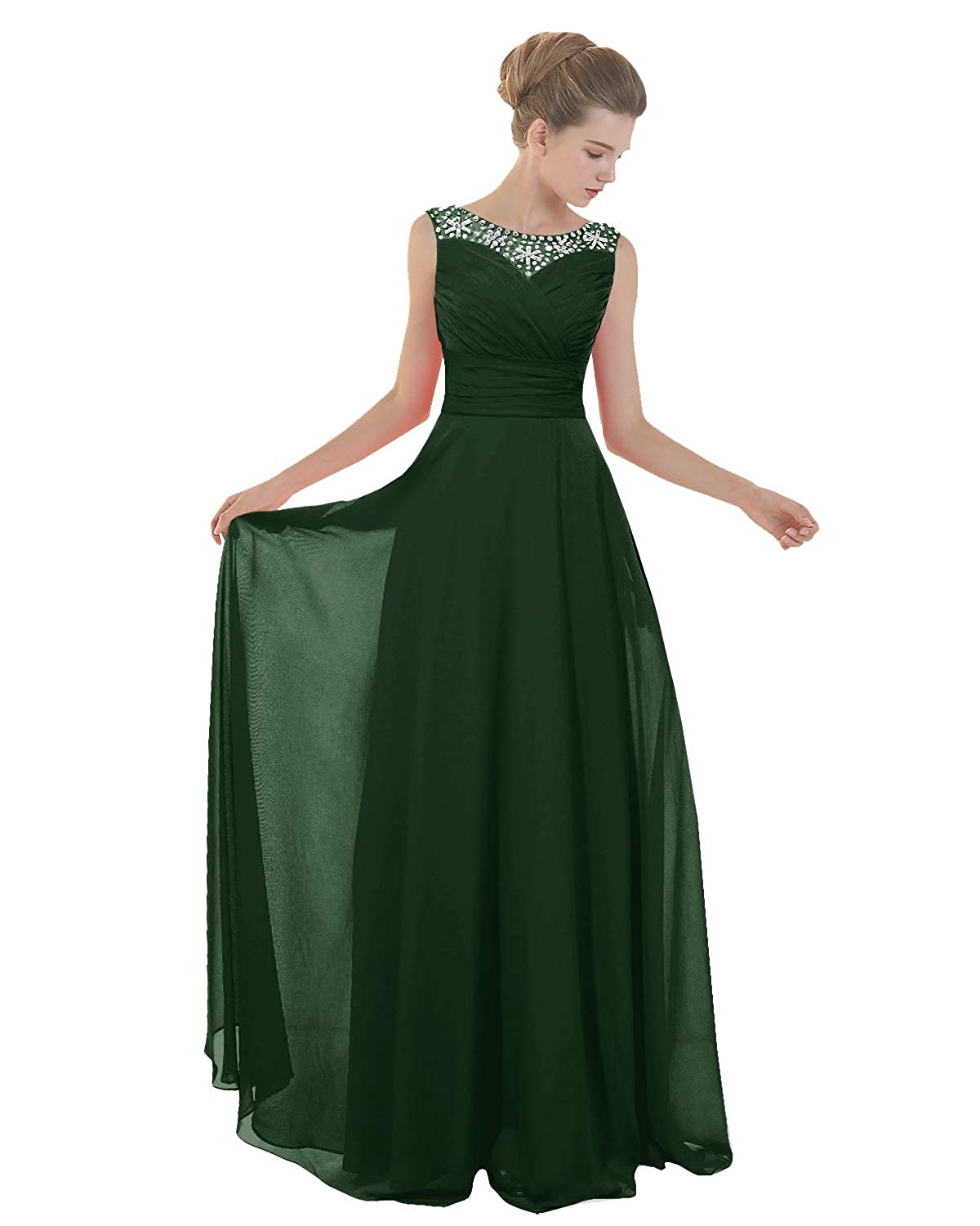 Dark Green ANGELWARDROBE Lace Neckline Beaded Prom Dresses Long Formal Evening Party Gowns Skirts