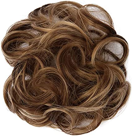LLguz Hairpieces Wig,Thick Curly Messy Wavy Synthetic Hair Breathable Adjustable Reusable Washable Updo Hair Pieces Bun Extensions Scrunchies Circle Elastics for Women Ladies