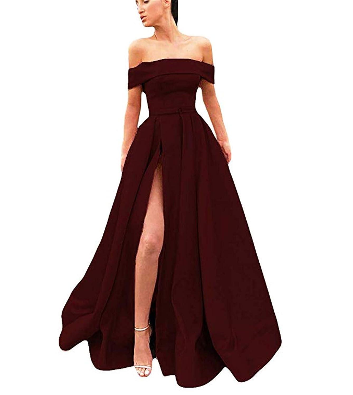 Burgundy QiJunGe Off The Shoulder A Line Prom Dress for Women High Split Long Formal Gowns