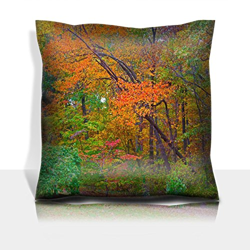 Liili Throw Pillowcase Polyester Satin Comfortable Decorative Soft Pillow Covers Protector sofa 16x16, 1pack Autumn palette US National Arboretum in the Fall Washington DC 28872343