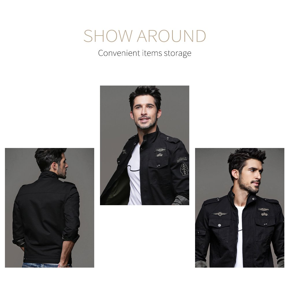 G&ELEGANT Mens Military Jacket Stand Collar Casual Parka Trench Coats Outerwear at Amazon Mens Clothing store: