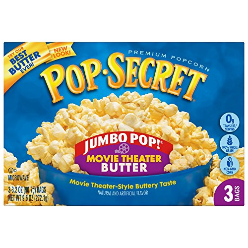 Pop Secret Popcorn, Jumbo Pop Movie Theater Butter, 3 Count Box (Pack of 12) (Unpopped Popcorn Gift Baskets)