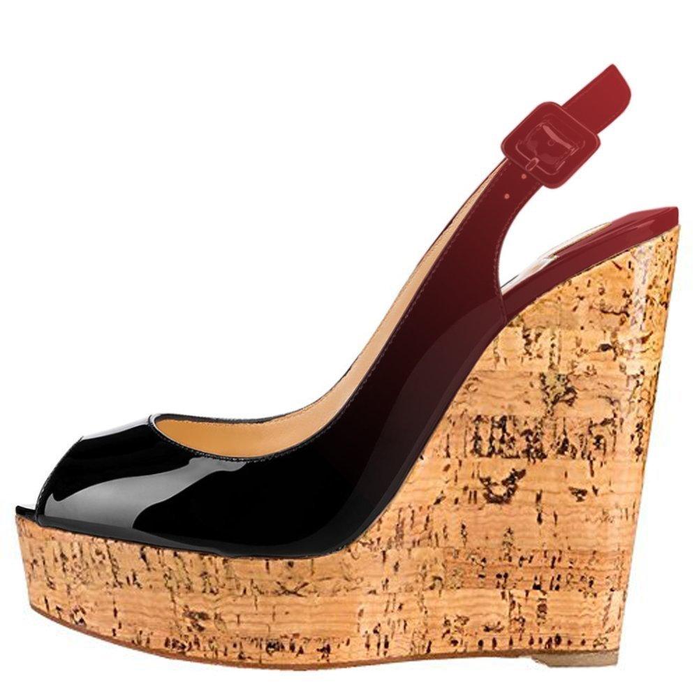 Mermaid Women's Shoes Peep-Toe Patent Leather Sling-Back Wedge Heeled Platform Sandals B07D615PDV US 5 Feet length 8.73